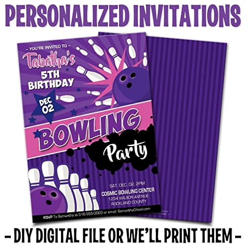Custom Personalized Girls Bowling Birthday Invitations