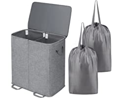 Lifewit Double Laundry Hamper with Lid and Removable Laundry Bags, Large Collapsible 2 Dividers Dirty Clothes Basket with Han