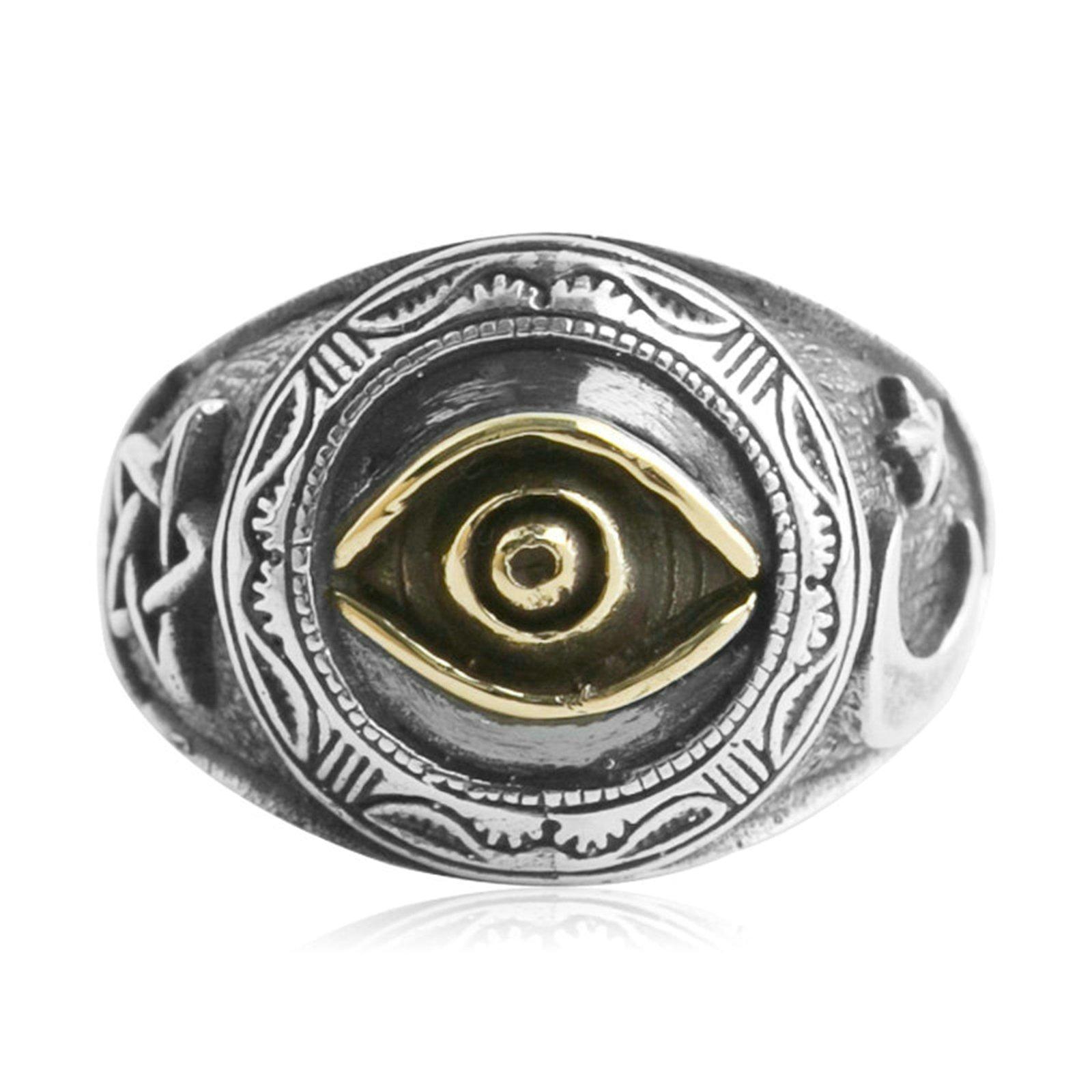 Beydodo Mens Silver Ring, The Eye Of God Star Moon Ring Size 11 Punk Biker Ring Bands