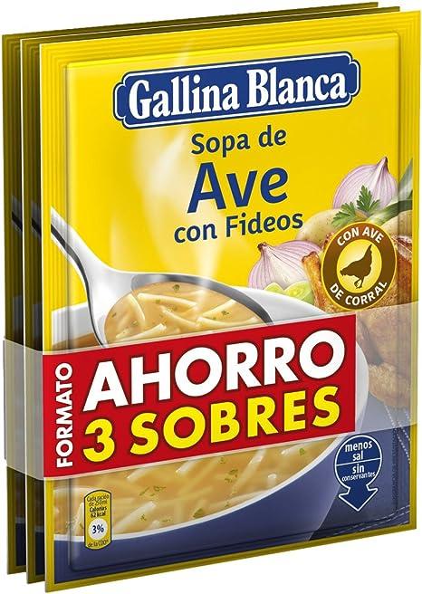 Gallina blanca sopa de ave con fideos pack ahorro(3x76g): Amazon.es: Alimentación y bebidas