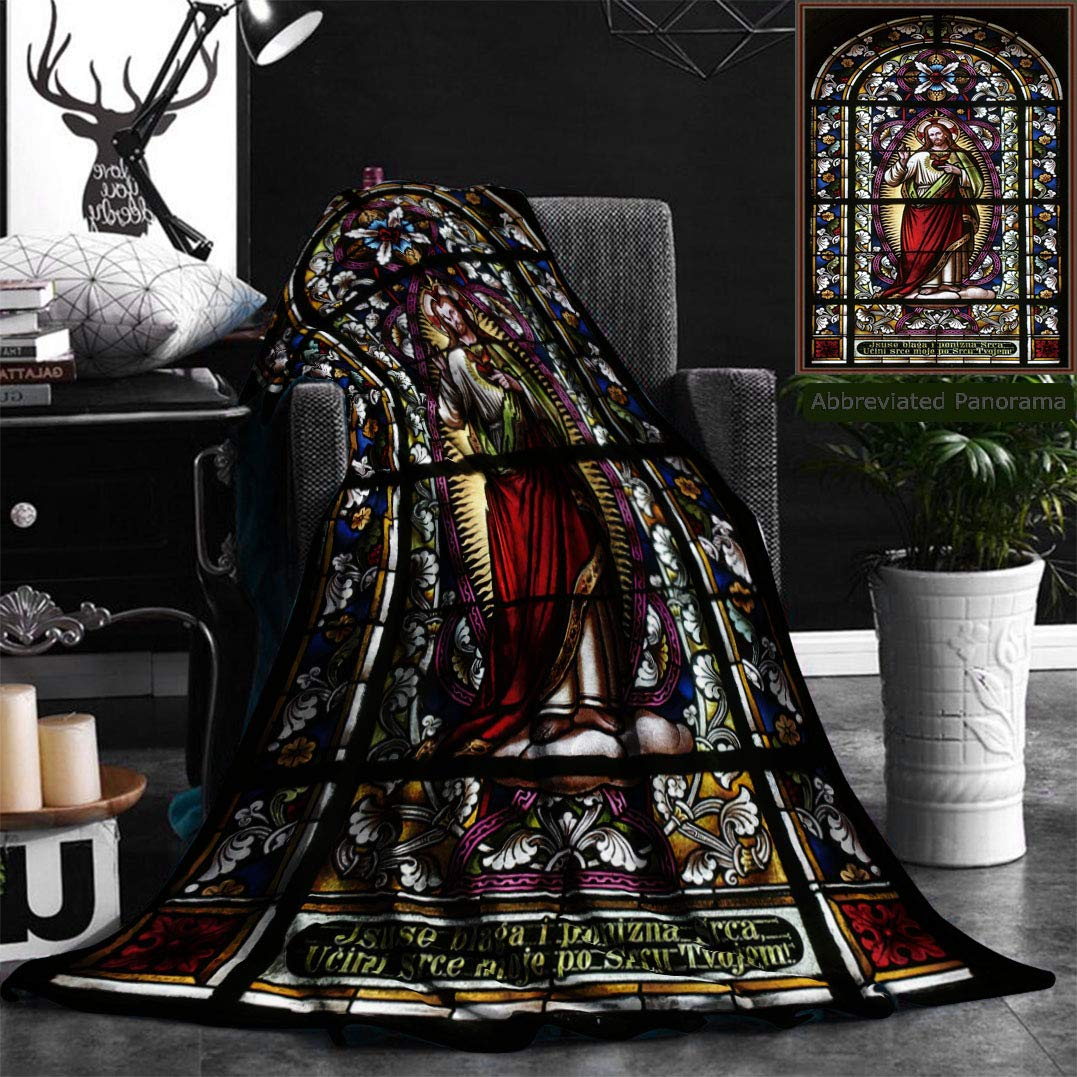 Nalagoo Unique Custom Flannel Blankets Sacred Heart Of Jesus Pictures Catholic Gifts Believe Art Christian Church Cathedral Window View Super Soft Blanketry for Bed Couch, Twin Size 60'' x 80''