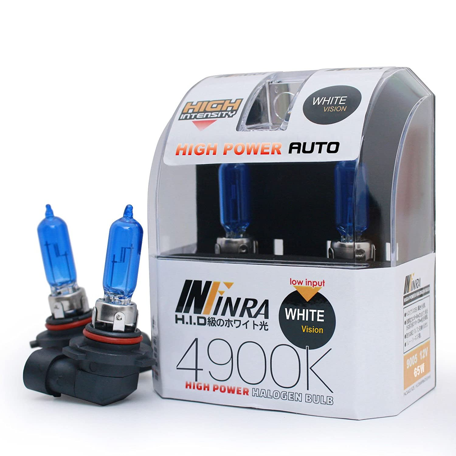 Infinra 9005 65W 4900K White Xenon Halogen Headlight Bulbs (Pack of 2)