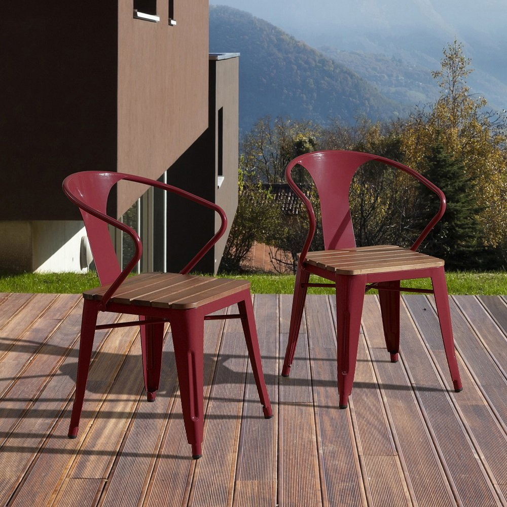 Amazon Com Jardin Outdoor Chair Tabouret Dining Chairs Chili Pepper Red Set Of 4 Patio Lawn Garden