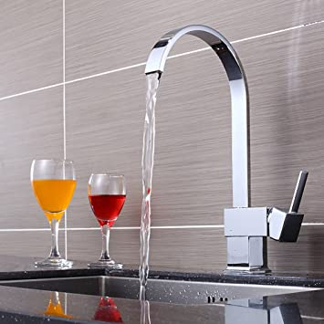 Kitchen Sink Faucet, 360 Degree Swivel High Arch Wet Bar Sink Faucet Hot And