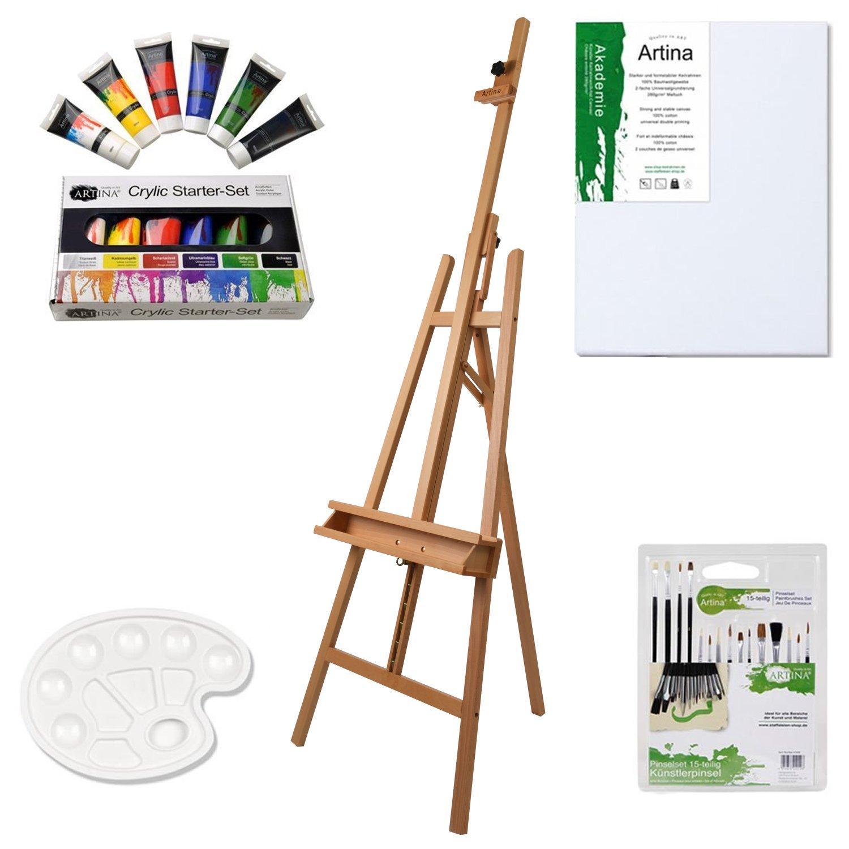 Artina set pittura Barcelona 25 pezzi - contiene 1 x cavalletto Barcelona faggio + 1 set pittorico acrilico