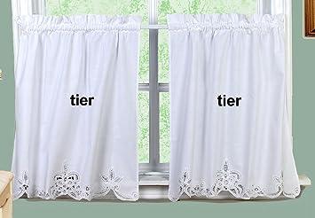 Creative Linens Battenburg Lace Kitchen Curtain 36 L Tiers White Home Amazon Com
