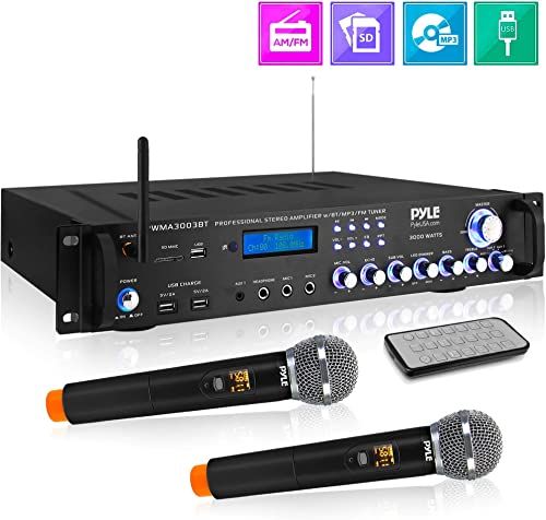 Bluetooth Home Audio Power Amplifier -4 Ch. 3000W, Stereo Receiver w Speaker Selector, FM Radio, USB, Headphone, 2 Wireless Mics for Karaoke, Great for Home Entertainment System – Pyle PWMA3003BT.NEW