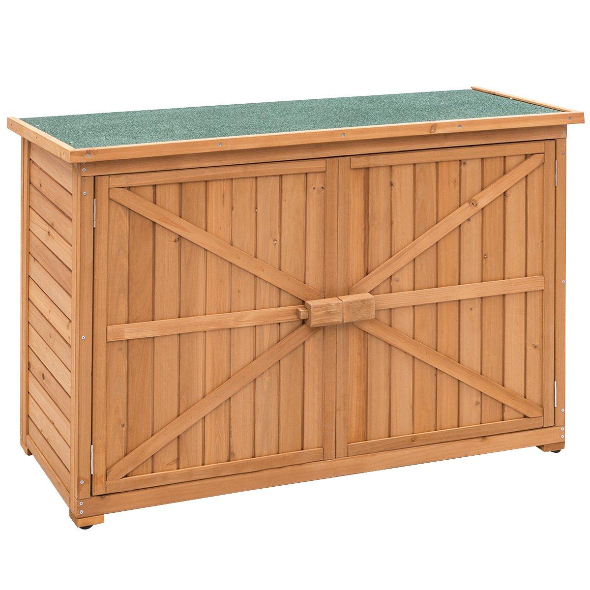 Goplus Wooden Garden Shed Fir Wood Outdoor Storage Cabinet Double Door Yard Locker