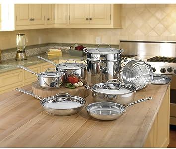 Juego de cazuelas o sartenes y utensilios Cuisinart 77-14 chef de Classic inoxidable 14 piezas ...