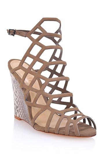 16c6f5f5540 Amazon.com  SCHUTZ Women s Margie Leather Caged Wedge Taupe Snake ...