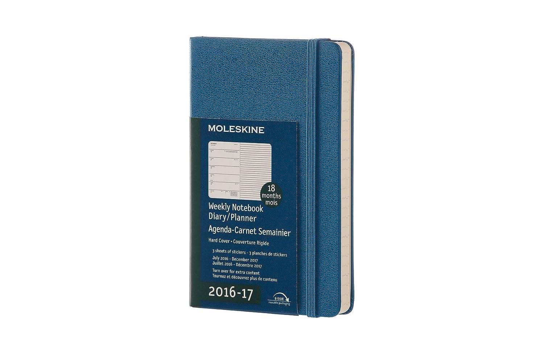Moleskine DHB2118WN2Y17 - Agenda semanal 18 meses, pocket 9 x 14, color azul: 1 WO=1 SEITE