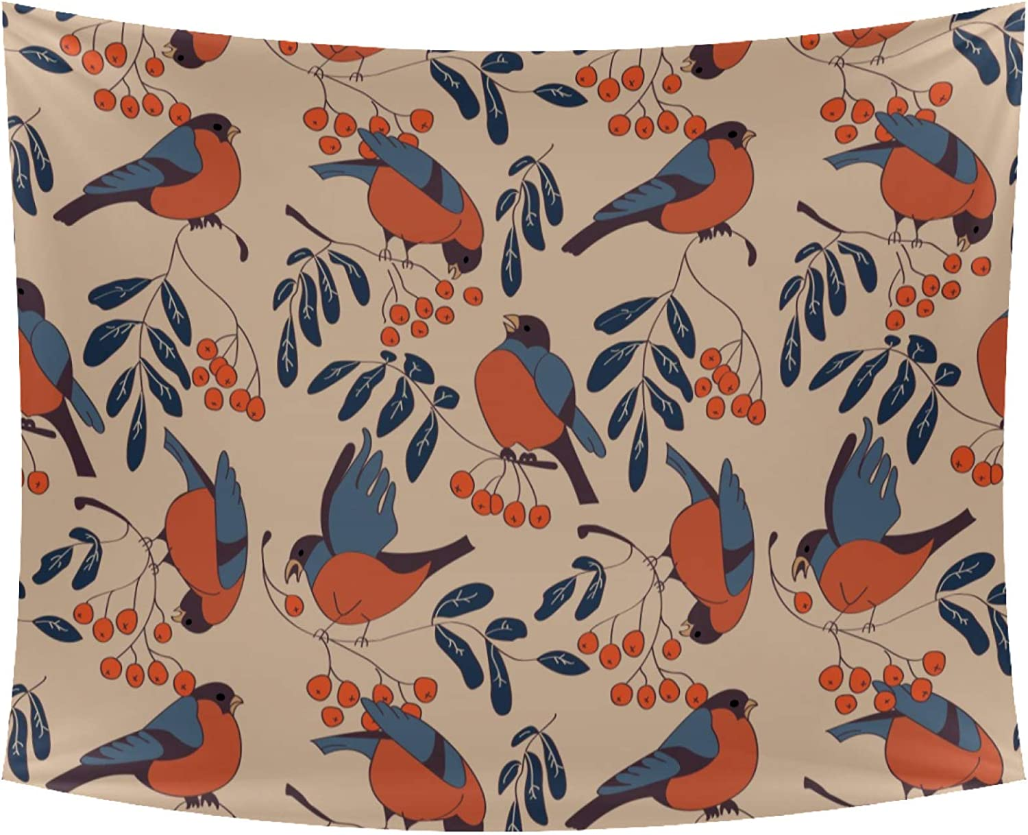 Tapestry Wall Art Decor Seamless Bullfinches Wall Blanket Beach Blanket Wall Hanging Bedding Tapestry 90x56 Inches