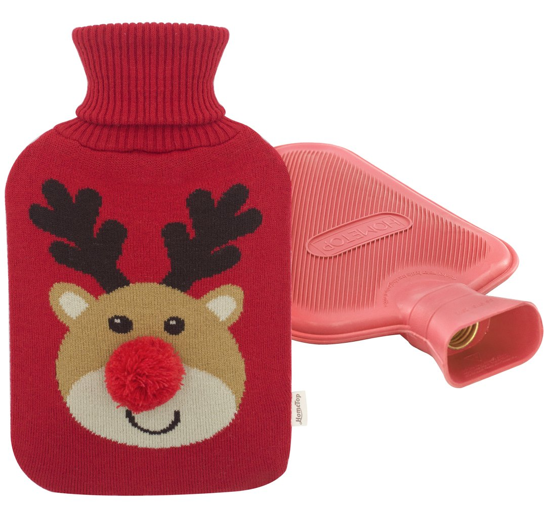 Premium Classic Rubber Hot Water Bottle and Christmas Accent Knit Cover (Pom Pom Reindeer/Red)