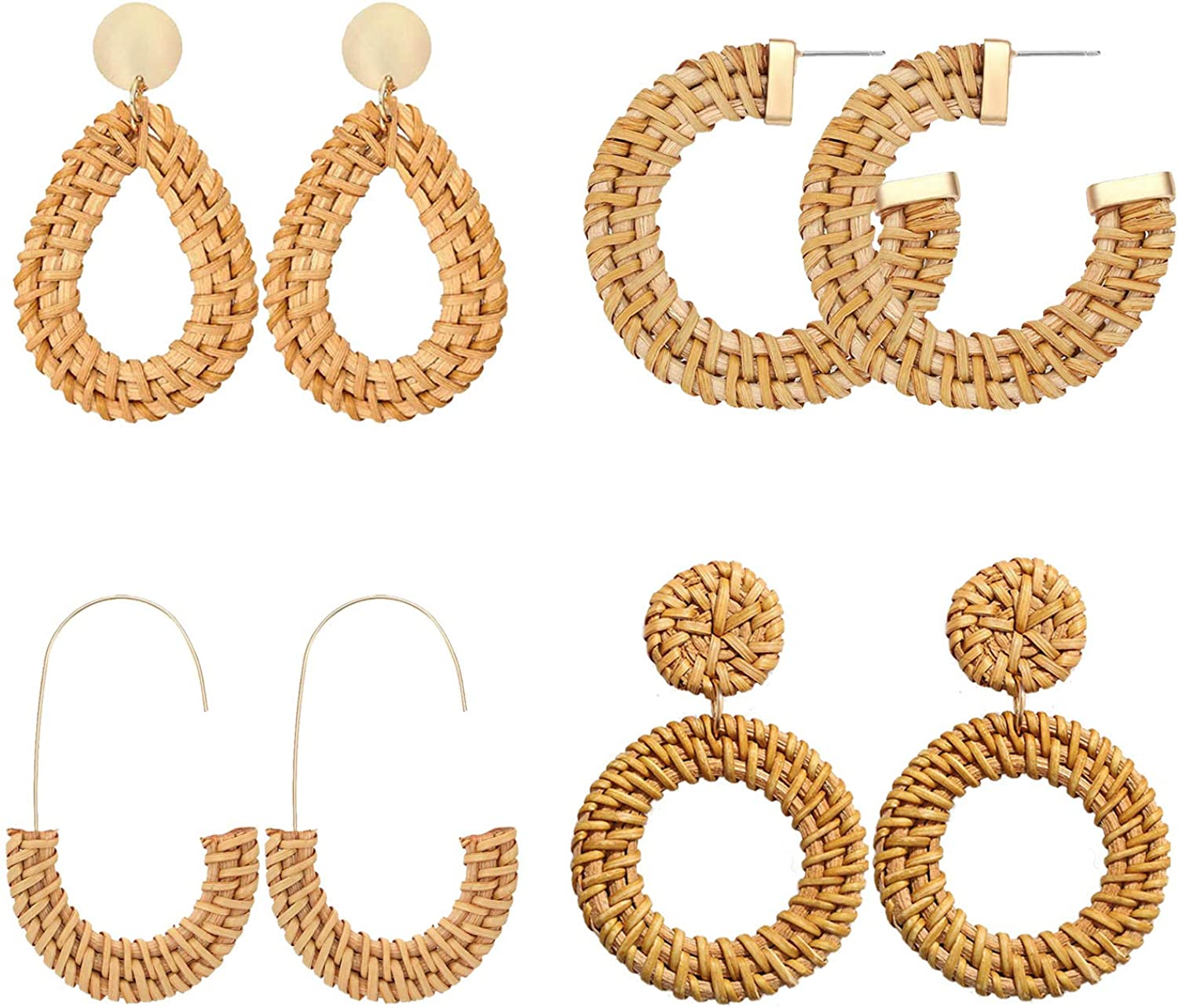 CEALXHENY Rattan Earrings Wicker Weave Hoop Earrings Handmade Straw Rattan Drop Dangle Earrings for Women Girls