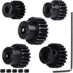 32P Hardened Steel Upgrade Pinion Gear Set: 17T 18T 19T 20T 21T fit 5mm RC Motor Shaft (Work with Steel Spur Gear) for RC Cars, Set of 5