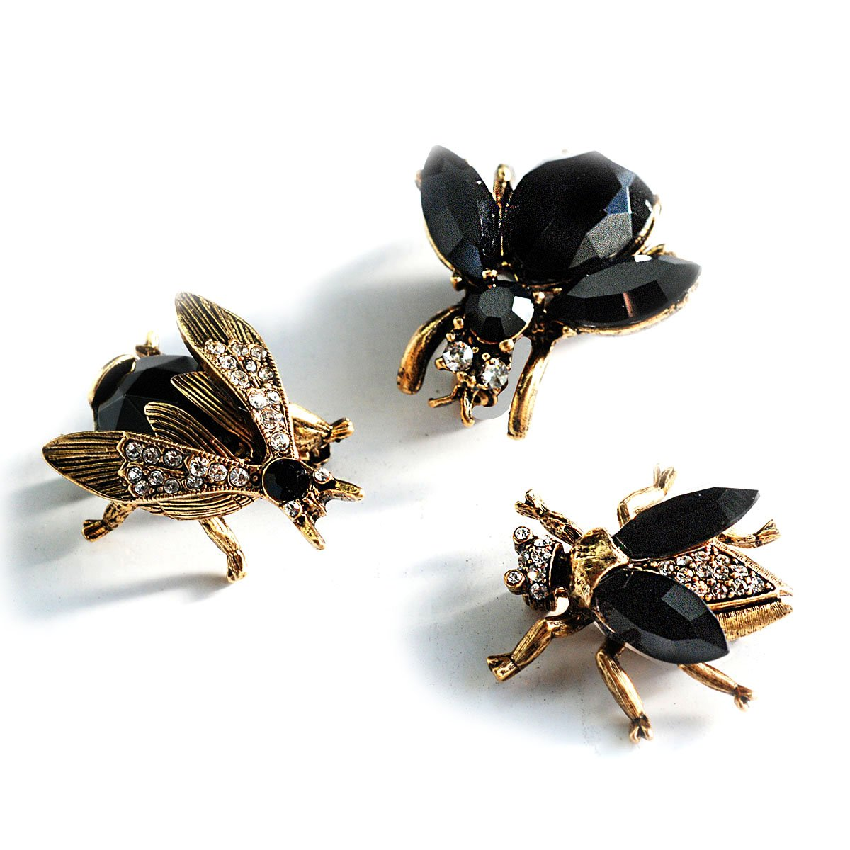 Elvira's Queen Bee Brooch Pin Trio Set - Black and Gold