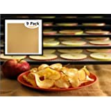 "Globalis- Superior 9 Pack Super Non-stick, Dupont Teflon Re-usable Food Dehydrator Sheets for Excalibur 2500, 2900, 3500, 3900 or 3926t. Sheet Measures 14"" X 14"" Fits Excalibur 5 and 9 Trays."