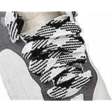 Shoe Laces Flat Thick - 52 Inches Long - Argyle Black / White Shoelaces