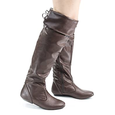 0b48325571d Amazon.com | Tammy Brown Leatherette Foldable Knee High Flat Boots w ...