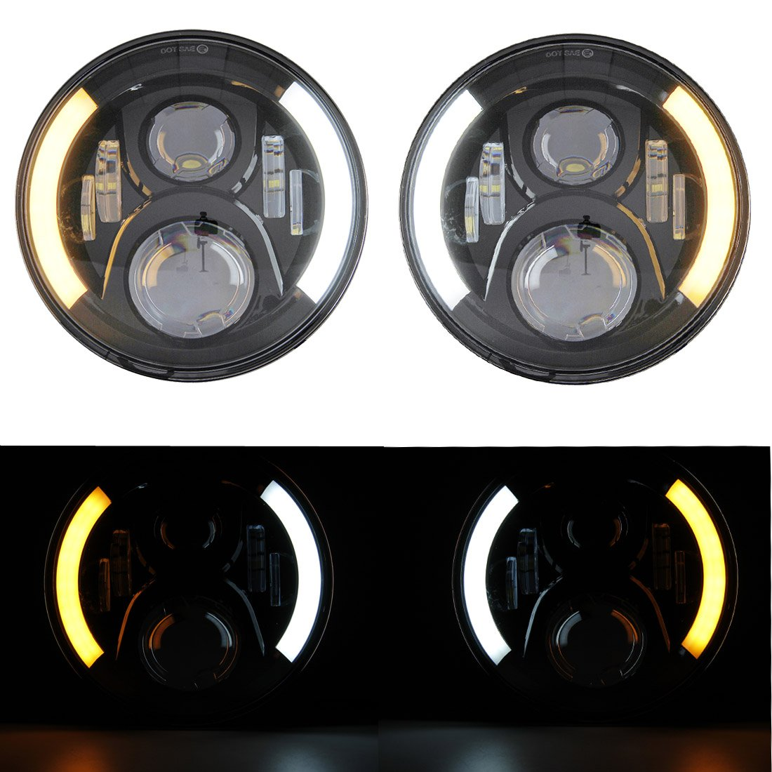 HOZAN Black 5.75 5-3//4inch LED Motorcycle Headlight White DRL with Headlight Housing for Kawasaki Honda Shadow Harley Suzuki Motorbikes Metric bikes Cruisers Choppers