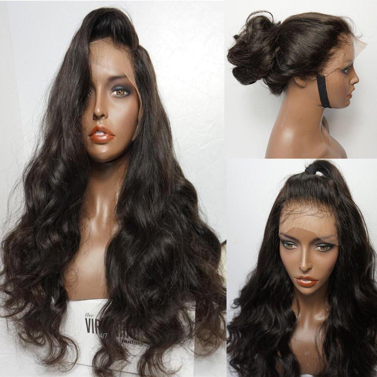 Maycaur nº 4peluca de color marrón, de pelo largo y ondulado y material sintético con parte delantera de encaje para las mujeres modernas Vanessa Queen