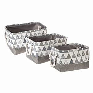 Home Zone Living Storage Basket for Nursery, Toy Shelf Organizer, and Home Office (Rectangular, 3-Pack)