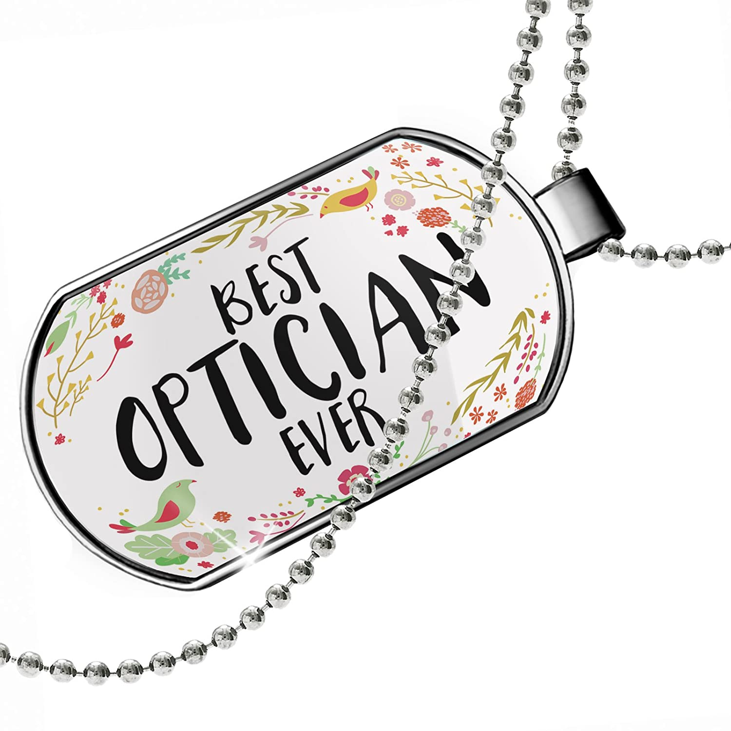 NEONBLOND Personalized Name Engraved Happy Floral Border Optician Dogtag Necklace