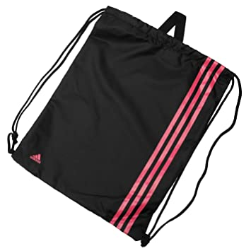 a38caa44e4 adidas Unisex 3 Stripe Sports Training Gymsack Backpack Bag 50cm x 38cm  Black Pink One Size  Amazon.co.uk  Luggage