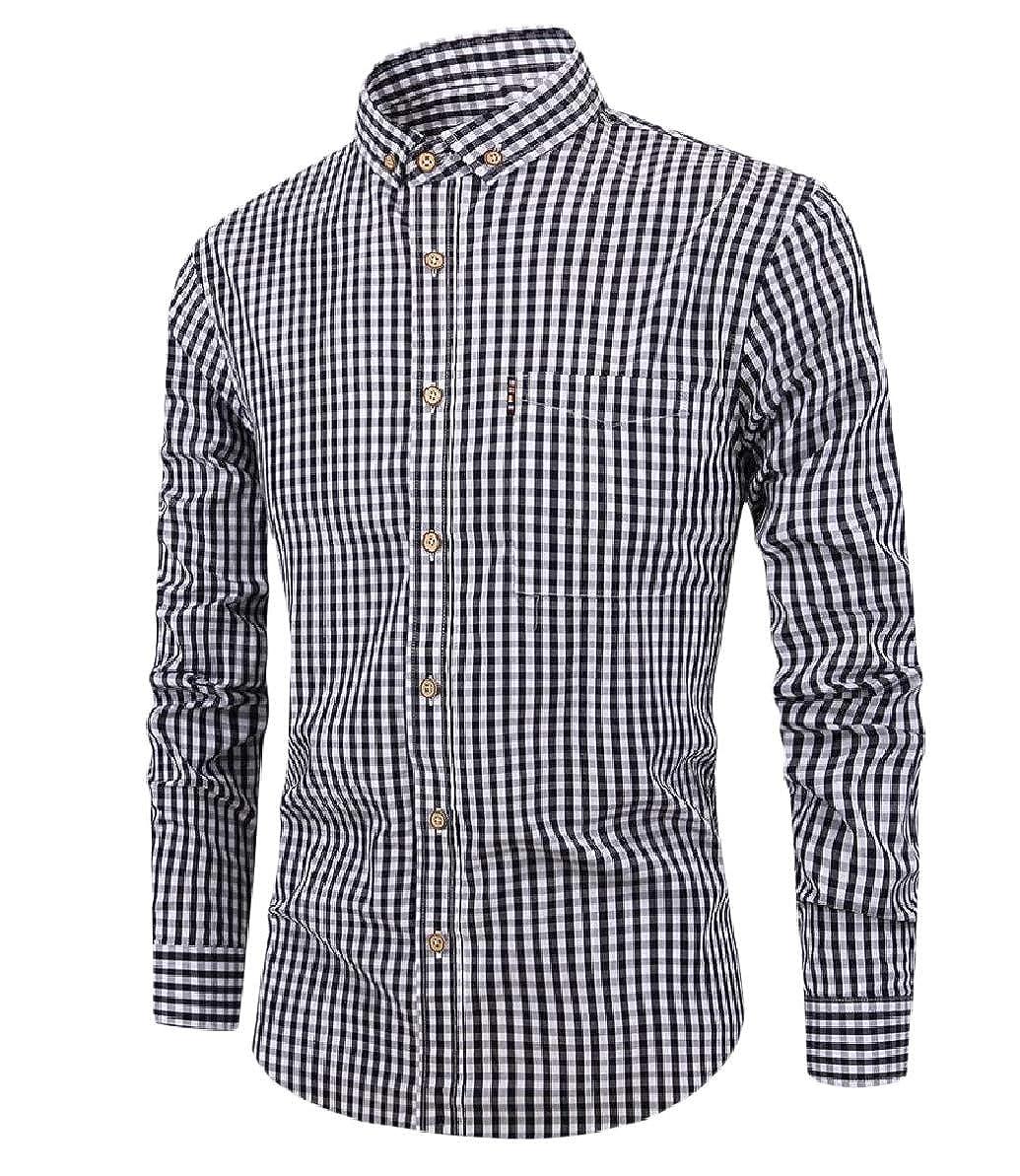 Zimaes-Men Plaid Breathable Business Long Sleeve Blouse Western Shirt
