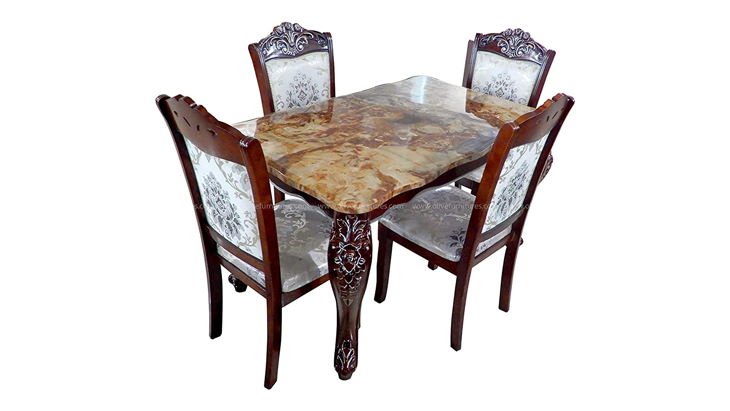 Olive Furniture Brown Color Malaysian Wood Rectangular Dining Table Set With Marble Top 4 Seater Wooden Chairs With White Cushioned Designer Upholstery For Dining Room Home Amazon In Home Kitchen