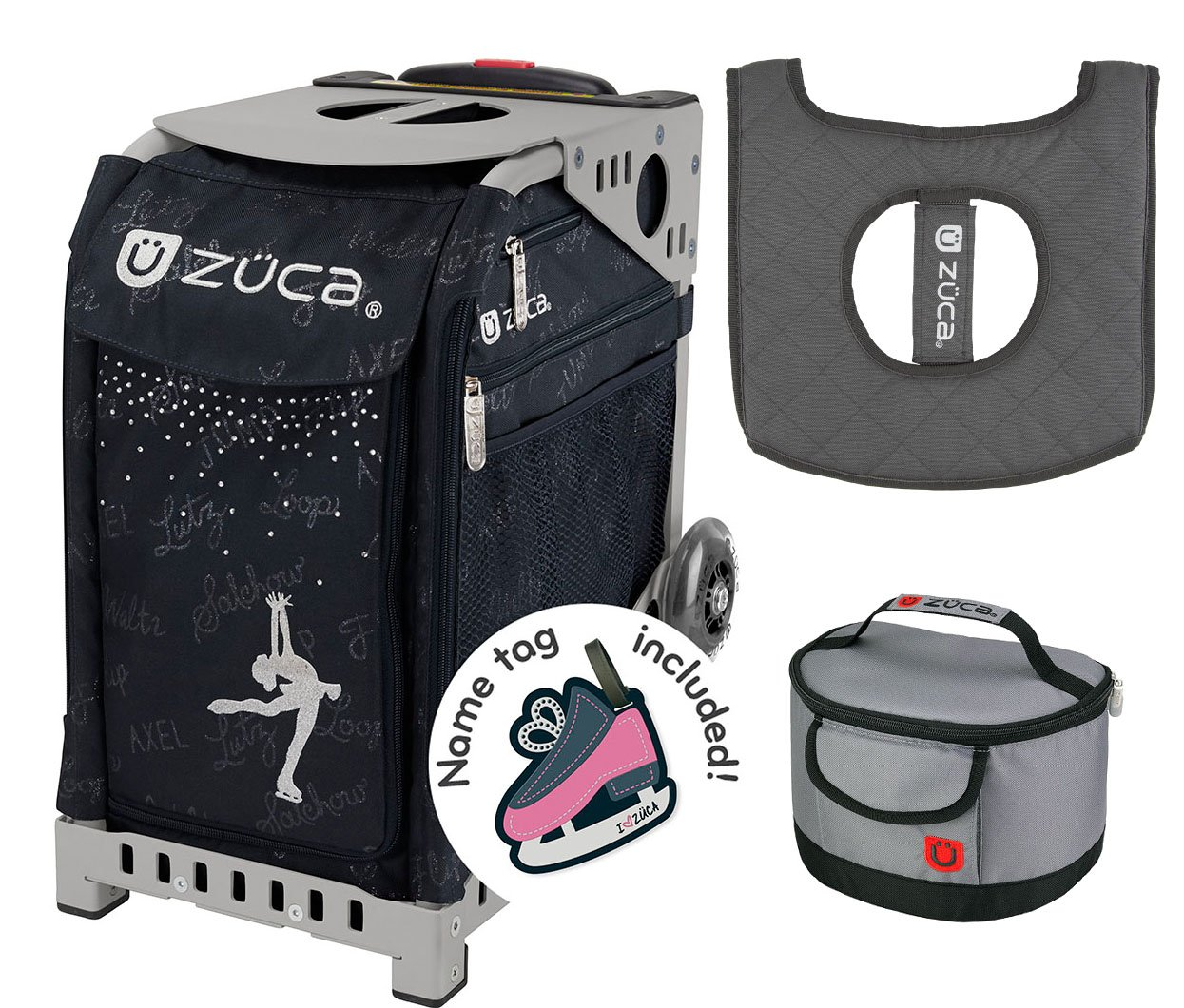 Zuca Sport Bag - Ice Queen with Gift Lunchbox and Seat Cover (Gray Frame, Gray Lunchbox) by ZUCA