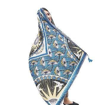 Steellwingsf - Toalla de Playa de algodón y Lino con Borla étnica para Mujer, algodón, Lino, Talla única: Amazon.es: Hogar