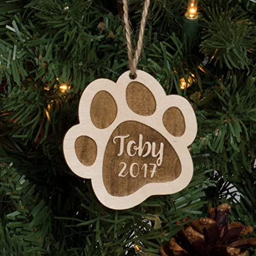 Personalized Pet Christmas Ornament Engraved Wood - Paw Print - Amazon.com: Personalized Pet Christmas Ornament Engraved Wood - Paw