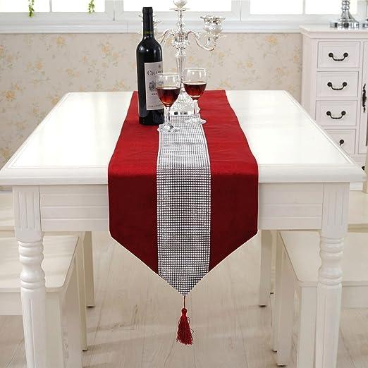 Lujo Camino de mesa con borla Modern terciopelo banda de mesa ...