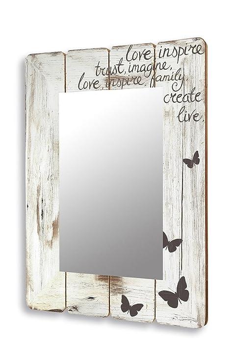 levandeo Spiegel 50x70cm Wandspiegel Flurspiegel aus Holz weiß Vintage  Shabby chic gewischt - Motiv Schriftzug Love mit Schmetterlingen Landhaus  Stil