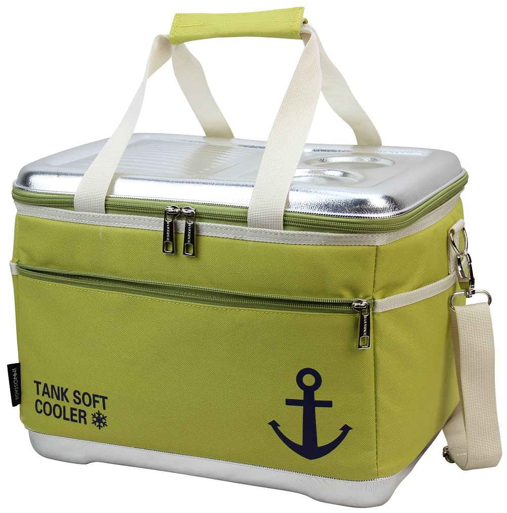 INNO STAGE 40 Can Insulated Cooler Tote Bag-18L Insulated Waterproof Picnic Box-Collapsible Thermal Travel Beverages Carrier Case with Hard EVA Molded Top Lid Table and 2 Drink/Cup Holders