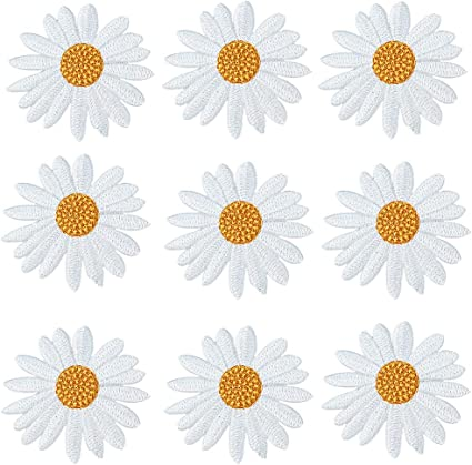 Garden Plant Badge Embroidered Appliques Crafts Flower Daisy Iron On Patches