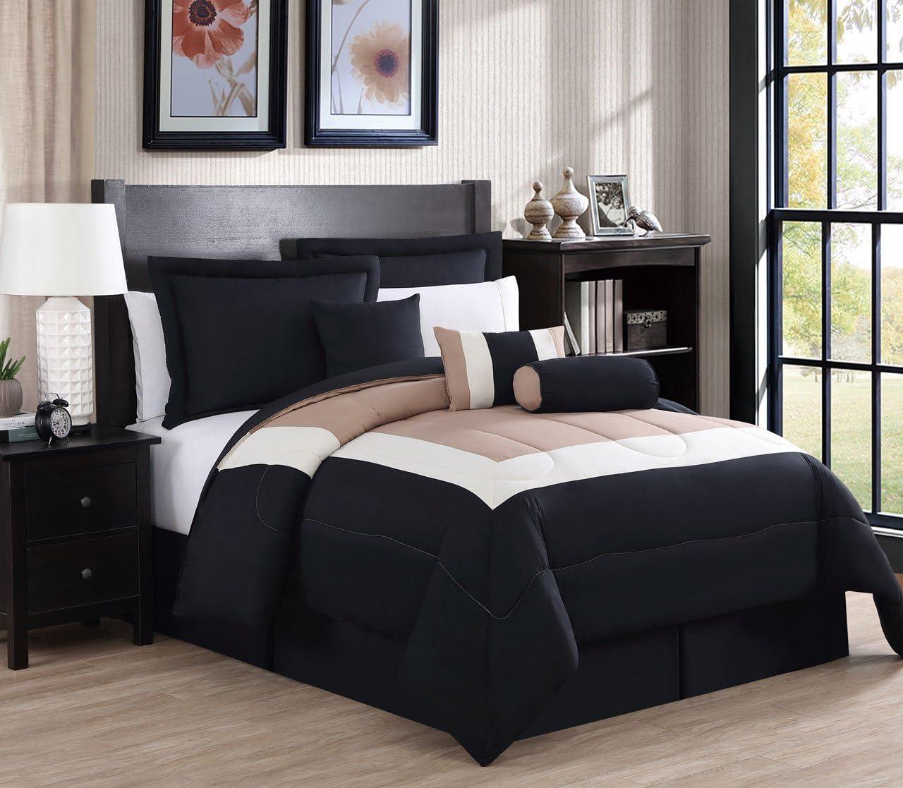 7 Piece King Rosslyn Black//Gray Comforter Set