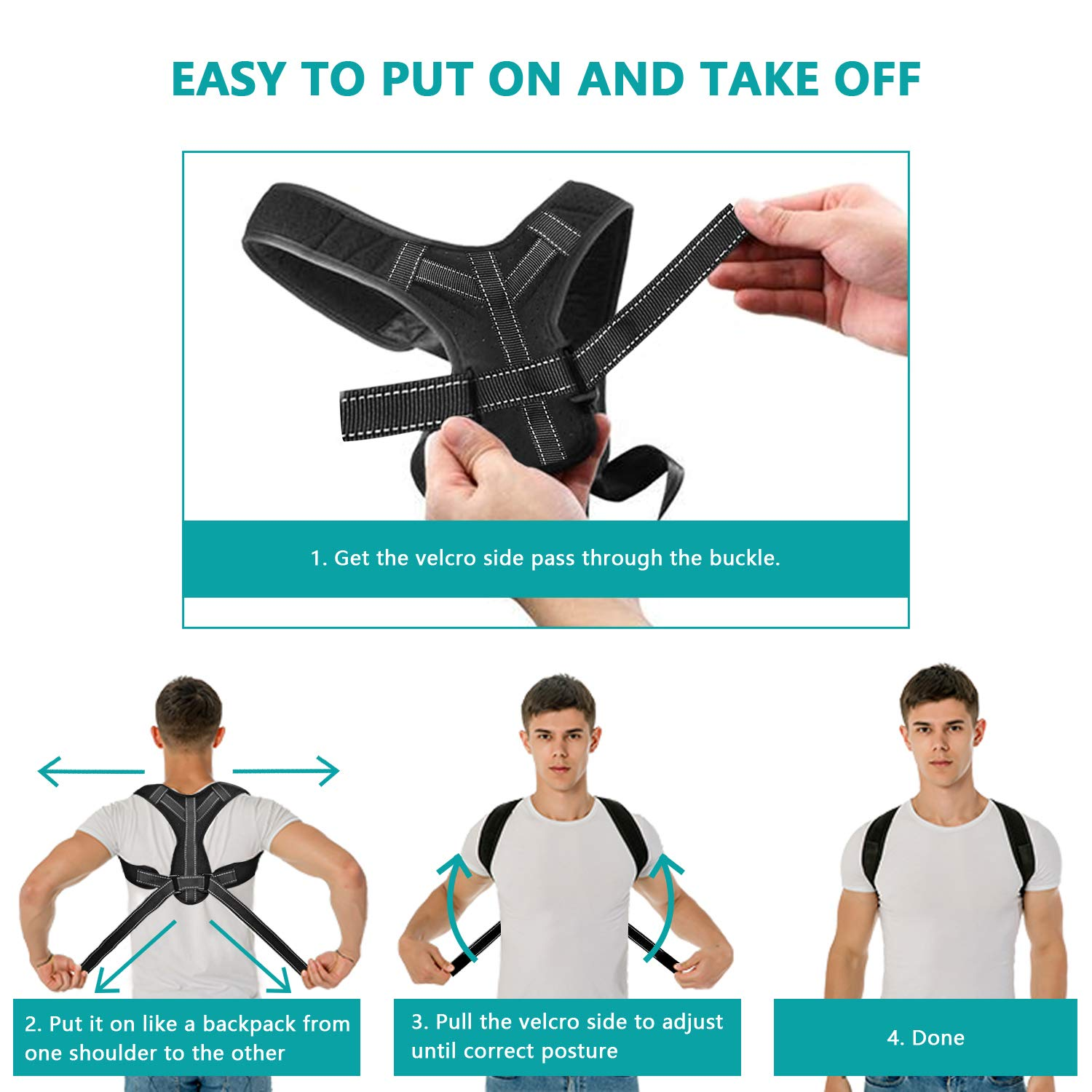 Posture Corrector for Men Women Upper Back Straightener Brace for Clavicle Support Adjustable Shoulder Brace for Posture Correction and Pain Relief from Neck, Back and Shoulder (Black, one Size)