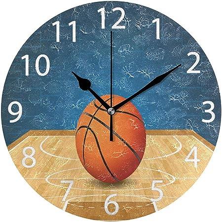 L.Fenn Reloj De Pared Redondo De Diseño De Baloncesto En Cancha ...