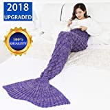 "YOWAO Mermaid Tail Blanket with Hand-knitted Fish-scale detail, Gorgeous & Cosy Blanket, Sleeping Bag, Warmer - 190x90cm (75""x35"") - (Purple)"