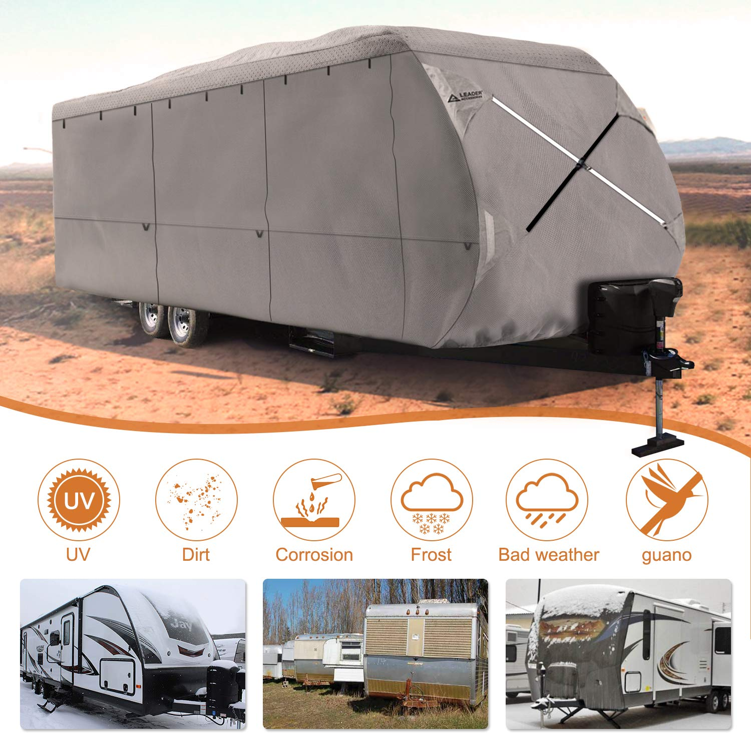Leader Accessories Travel Trailer RV cover (4 Layer Top/Grey, Fits 27'-30') by Leader Accessories (Image #5)