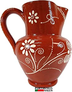 Portuguese Pottery Glazed Terracotta Hand Painted Wine Pitcher (9 Cups - 2.3 Liters)