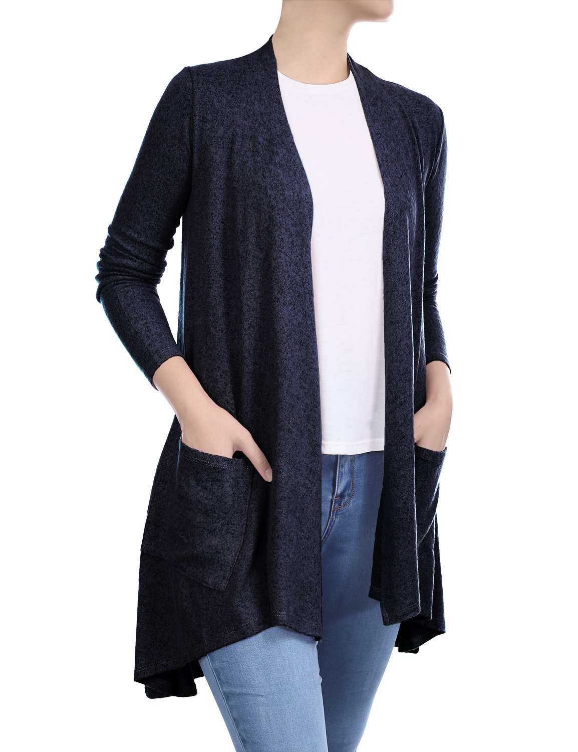 BIADANI Women Long Sleeve Classic Lightweight Front Pockets Cardigan Light Sweater Navy X-Large