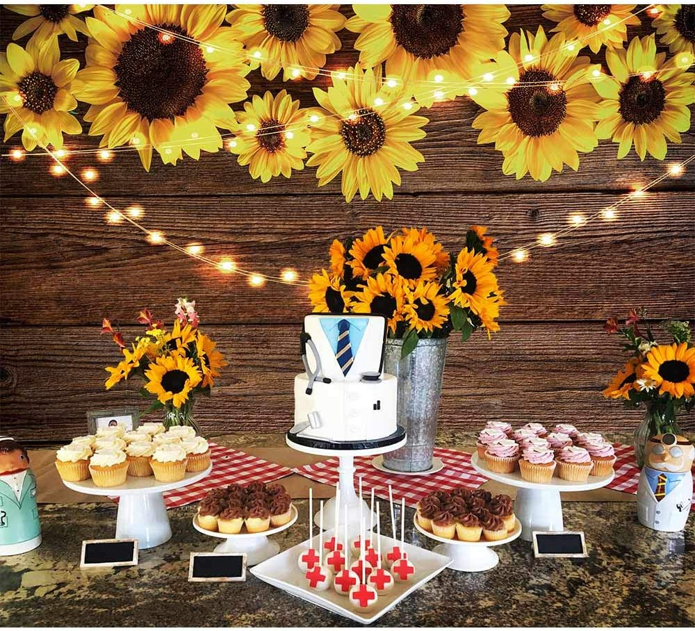 Amazon.com : Funnytree 7X5FT Sunflower Wood Texture Backdrops for Photography Rustic Child Baby Shower Birthday Wedding Party Background Banner for Picture Photo Studio Photobooth Decoration : Camera & Photo