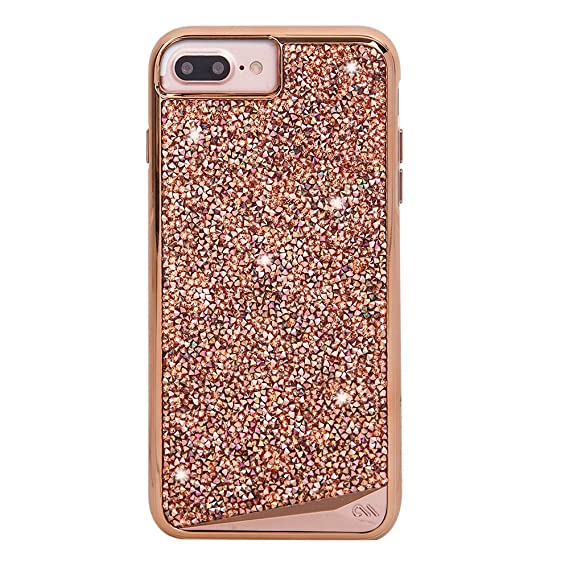 san francisco b1bb2 cbcba Case-Mate iPhone 8 Plus Case - BRILLIANCE - 800+ Genuine Crystals -  Protective Design for Apple iPhone 8 Plus- Rose Gold
