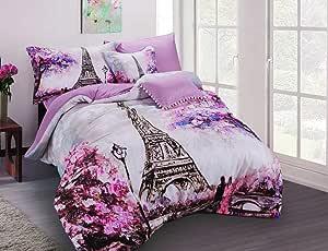 برومس حجم مزدوج/كامل,مايكروفايبر,نمط مطبوع,وردي - اطقم اغطية سرير
