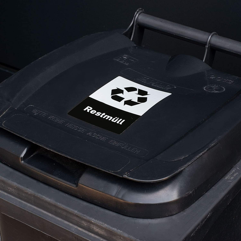 10x15cm Recycling Aufkleber 8er Set Restm/üll M/ülltonnen M/ülleimer