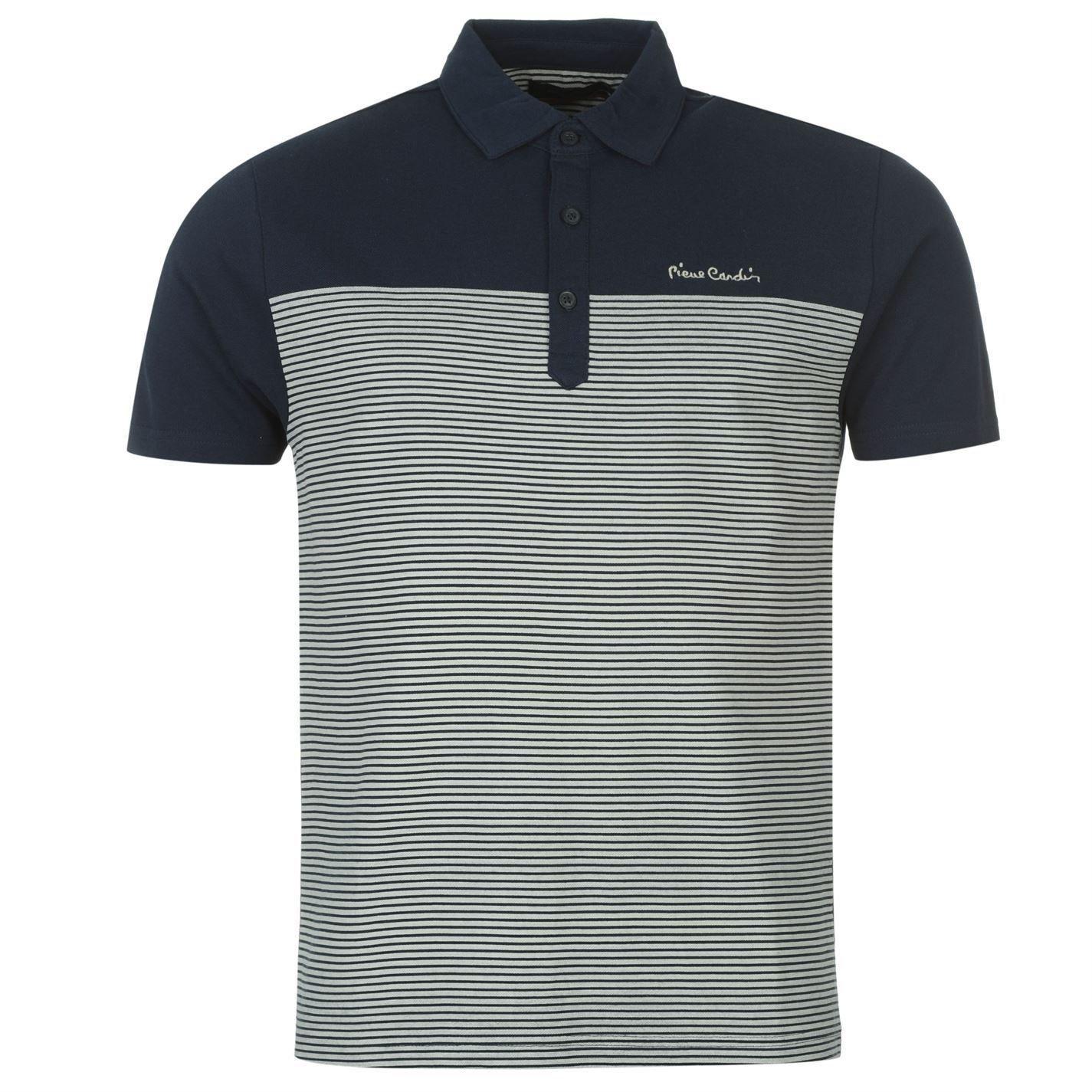 Pierre Cardin Polo de rayas camiseta para hombre azul marino/plata ...