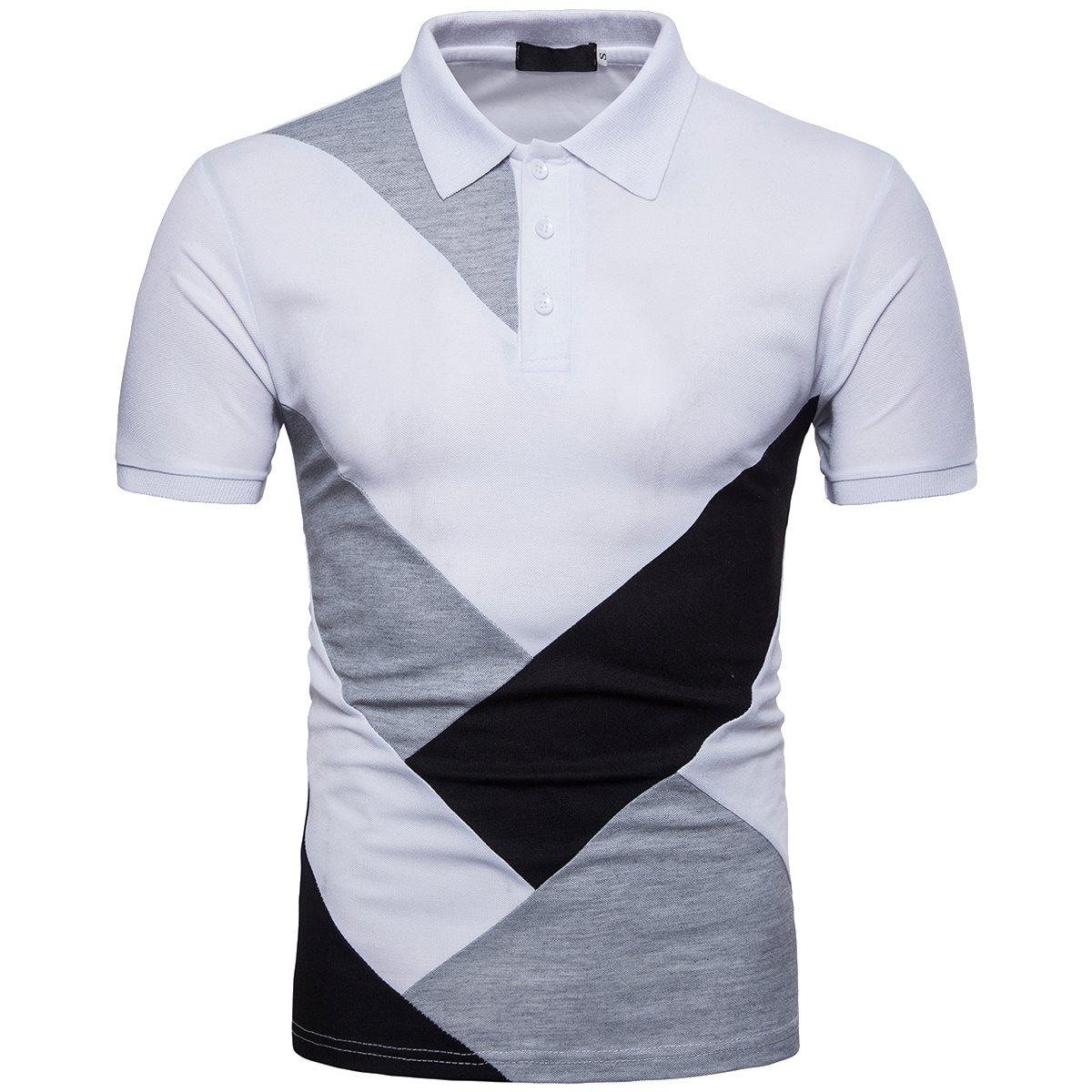 Cottory Mens Fit Slim Spell Color 3 Button Down Sport Polo Shirt